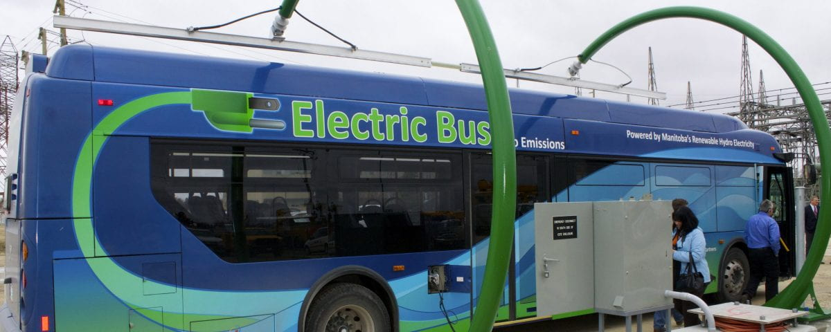 An electric bus is pictured