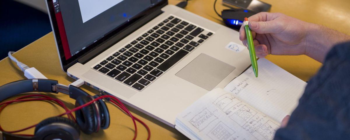 Close up of digital media design student's work