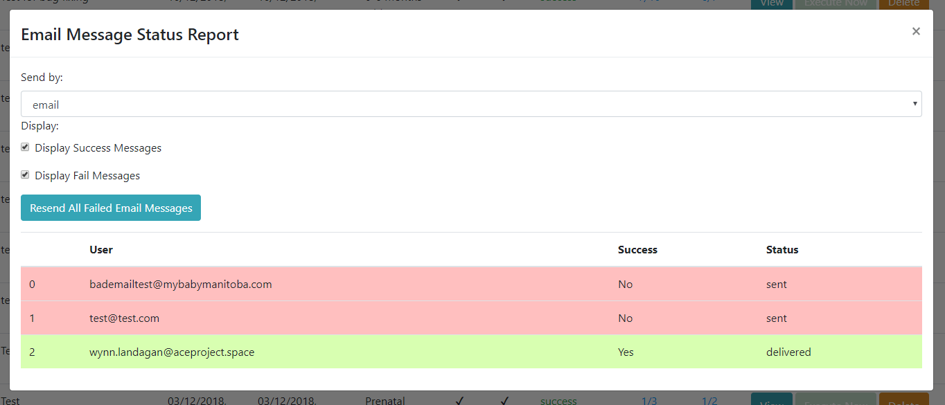 MyBaby - Admin Message Tracking Screen