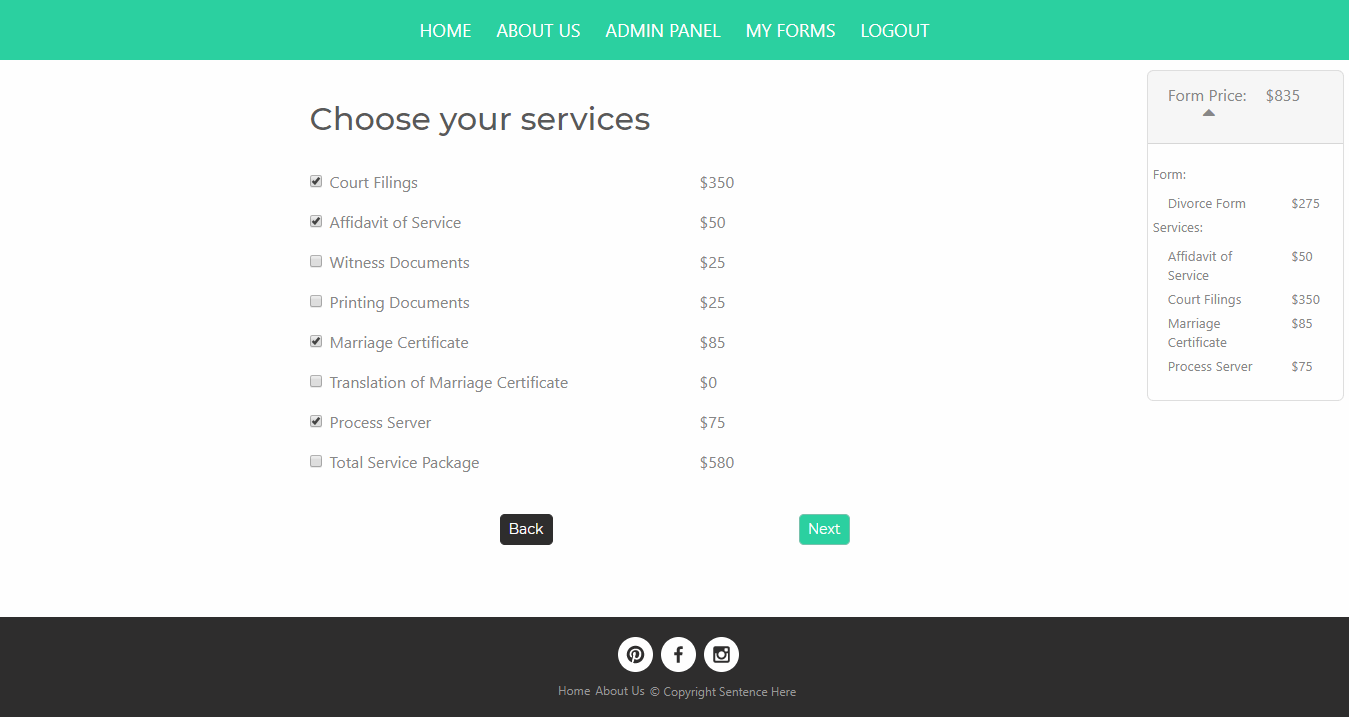 Easy Forms - Users have the option to choose their services