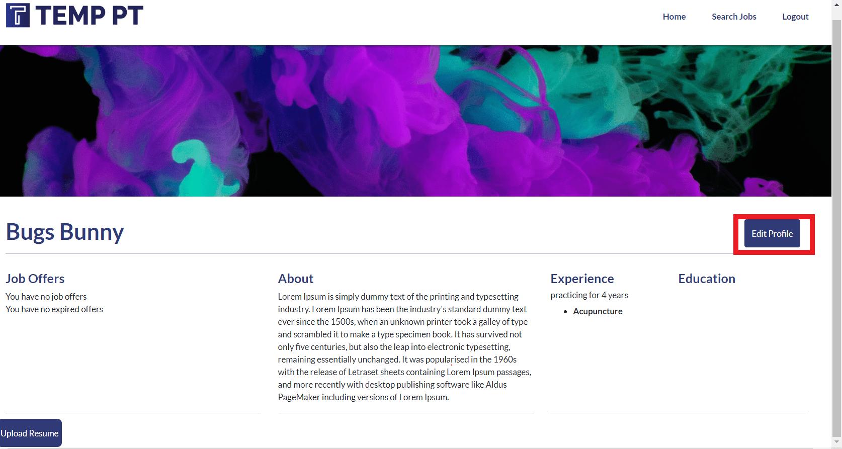 Practitioner Profile screen