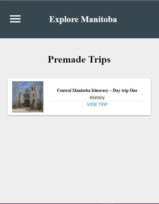 Eclectic - Explore Manitoba Premade Trips Page on Mobile
