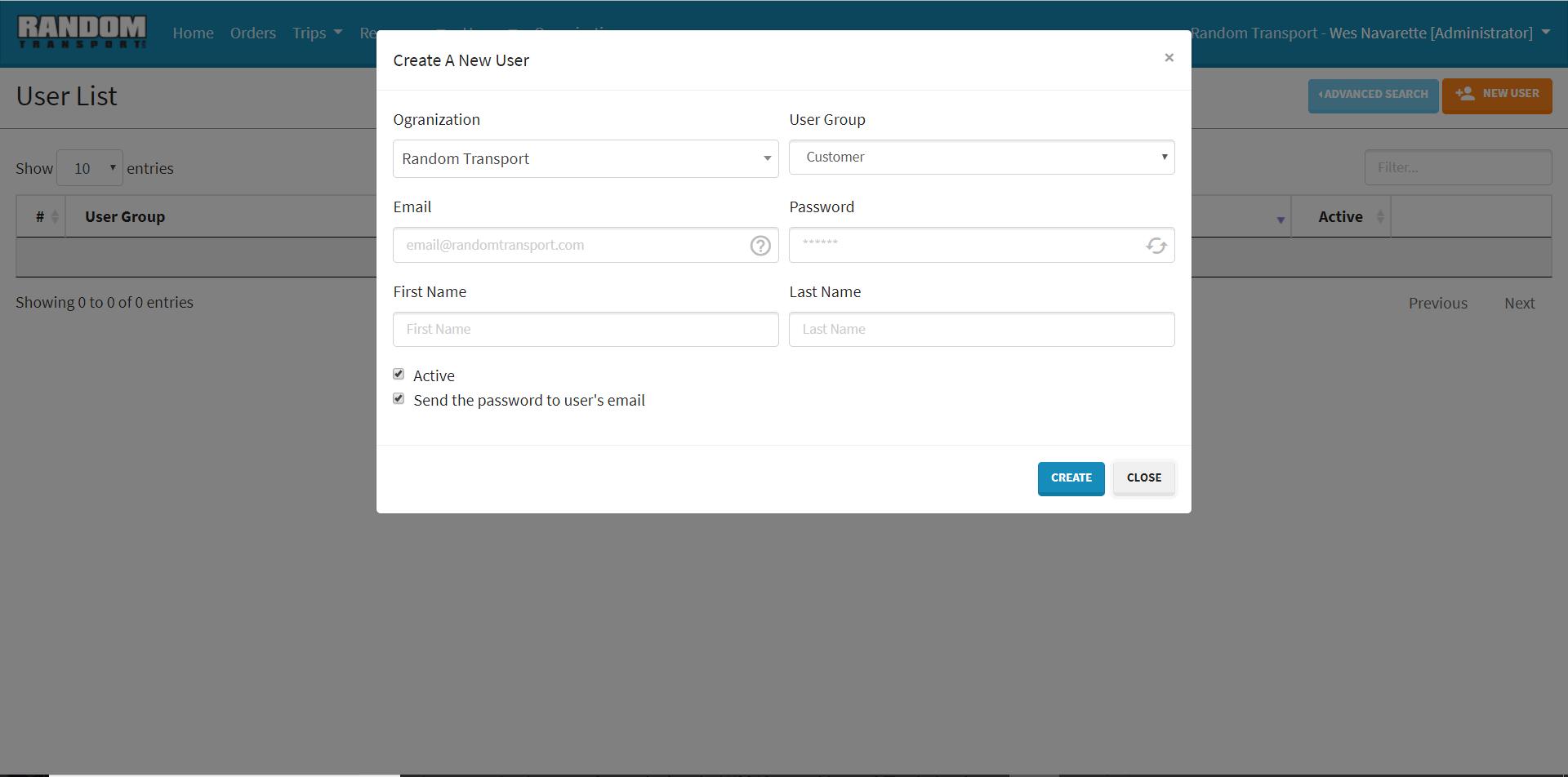 Random Transport - Create New User Screen