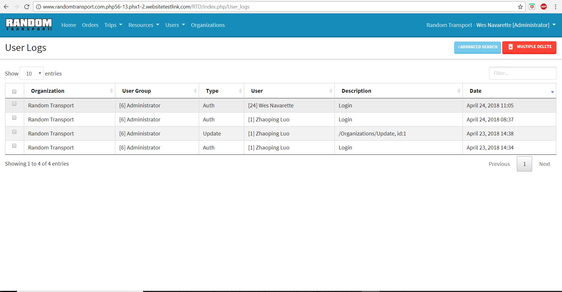 Random Transport - User Logs Screen