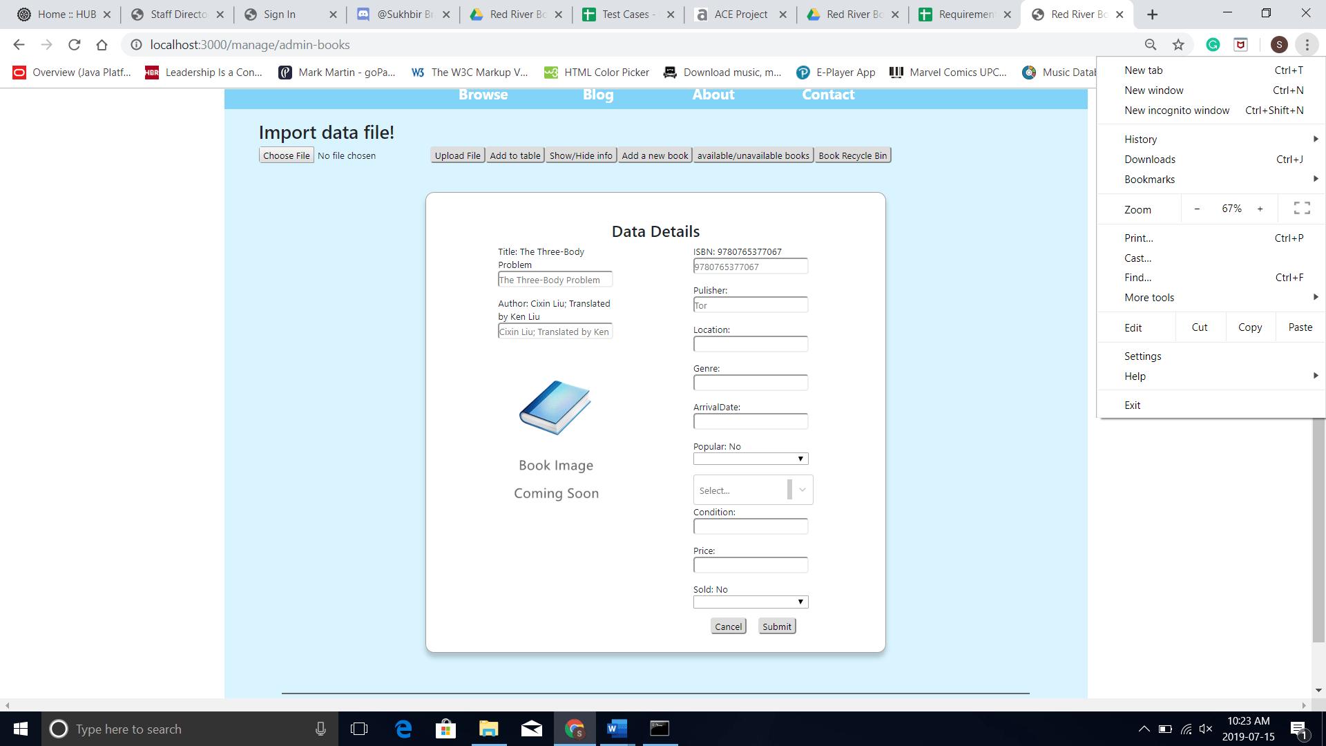 Data Details dialog box