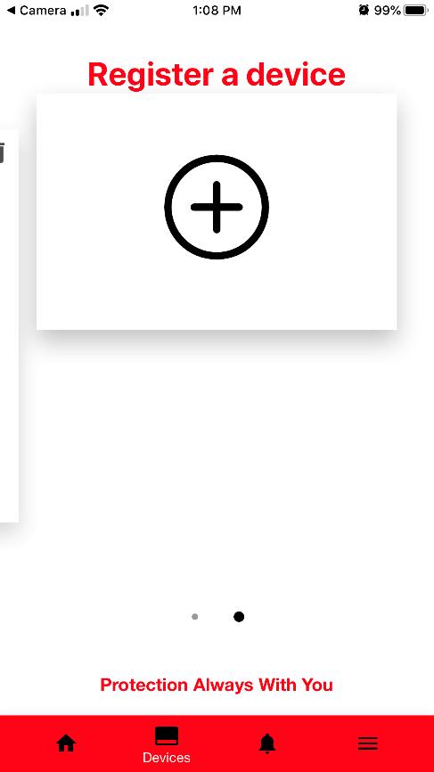Device Registration Screen