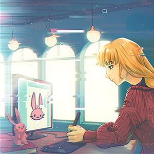 Illustration of a 2SLGBTQIA youth creating digital art